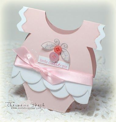 handmade card from Oodabug Alley: February 2011 ... shaped card from a template ... adorable little girls' onesie ....  scallop theme ... ruffles! ...