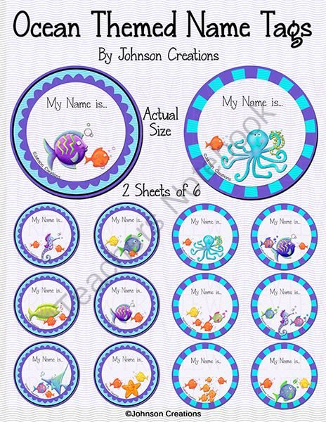 Ocean Themed Name Tags from Johnson Creations on TeachersNotebook.com -  (4 pages)  - These adorable ocean themed name tags are editable! Write by hand on the nametags or type the information on your computer. To type on the tags, open the pdf. Click on �Sign� at the far right on your top menu bar. Then click on �Add Text�. With your mouse
