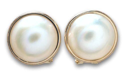 Estate Mabe Pearl Earrings