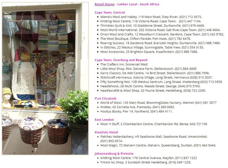 Collection of your fav yarn stores in South Africa. Contact us with yours! http://www.knittingstation.com