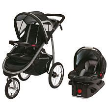 Graco FastAction Fold Click Connect Jogger Travel System Stroller - Road Runner. I'm not a runner but I like the cup holders and phone place with a clip to hold it there!