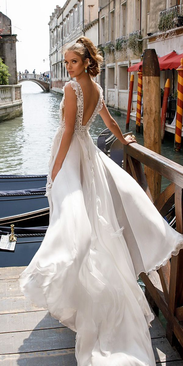 Julie Vino Wedding Dresses 2018 — Venice Collection ❤ julie vino wedding dresses 2018 v back floral applique romantic ❤ Full gallery: https://weddingdressesguide.com/julie-vino-wedding-dresses-2018/ #bridalgown #weddingdresses2018