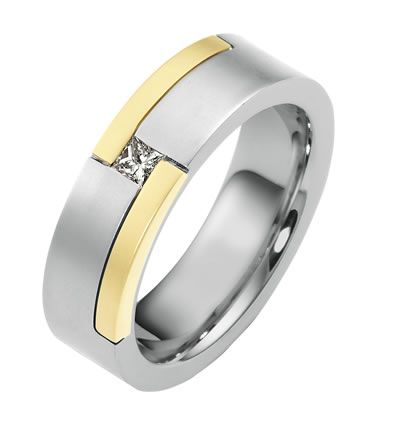 men two tone wedding bands | 14K Two Tone Men's Wedding Band