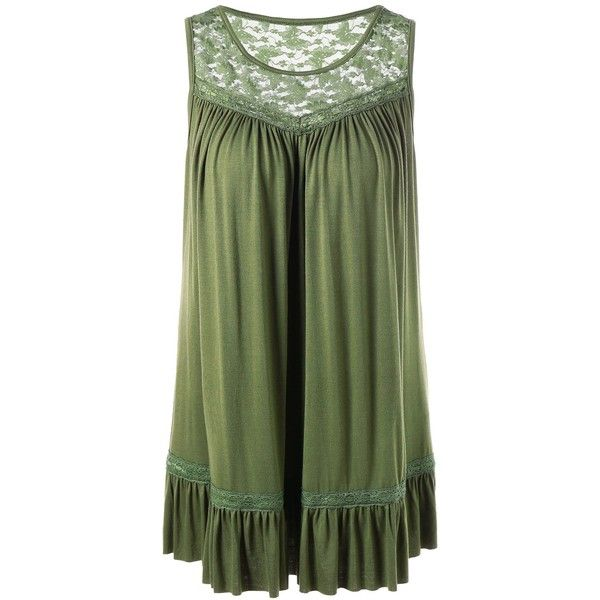 Lace Insert Plus Size Smock Tank Top (€19) ❤ liked on Polyvore featuring tops, plus size tanks, lace inset top, women's plus size tops, womens plus tops and green tank
