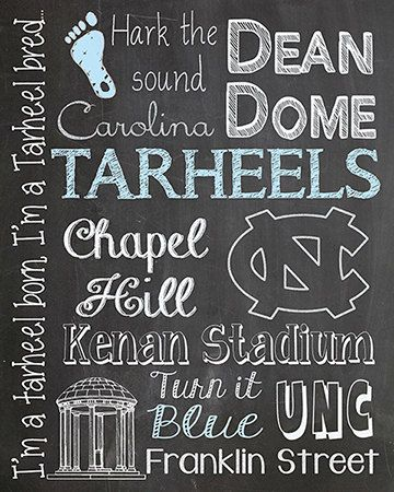 Carolina Tar heels Tarheels Chalkboard Subway by MuchTooGraphic
