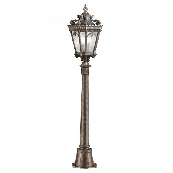Victorian Gothic Small Garden Lamp Post or Pillar Light, Bronze Finish
