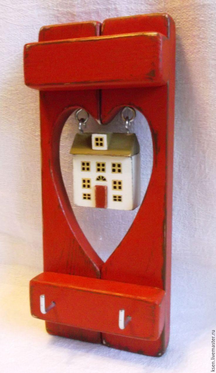 """Ключница """"Домик в сердце"""" - ярко-красный, сердце, ключница, прихожая, вешалка, подарок"""