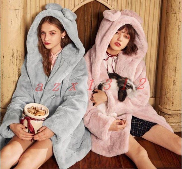 Sweet Womens Faux Fur Hooded Coat Jacket Outdoor Long College Winter Warm Casual
