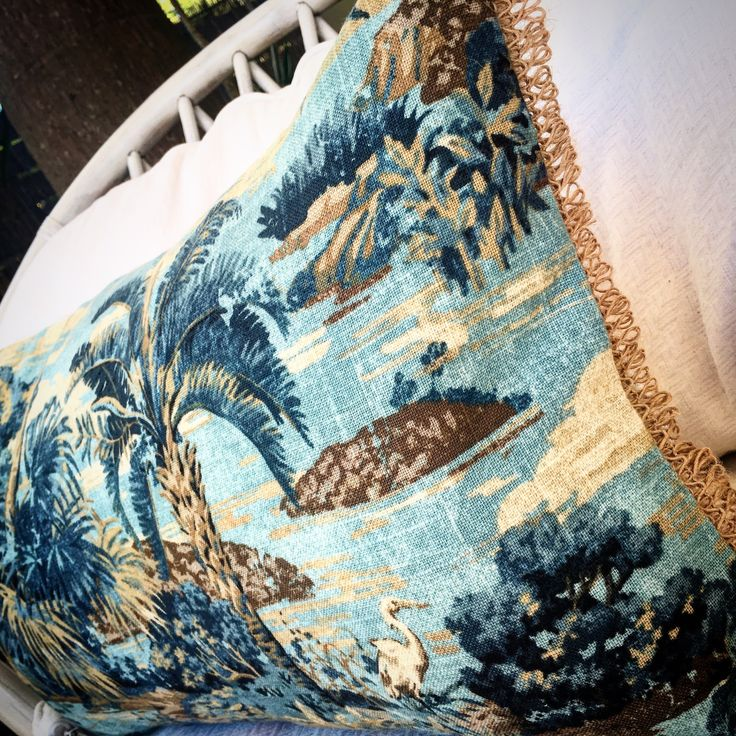 Blue- Vintage Palm Tree Print with jute trim and vanilla cotton back. Size  35 x 55 (Insert not included)