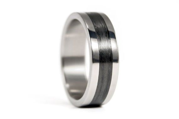Polished Titanium And Carbon Fiber Ring For Him Mens Black Etsy Carbon Fiber Rings Black Wedding Band Mens Wedding Bands Black