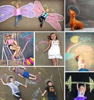 22  Sidewalk chalk idea - funny photo backgrounds // 22 Vicces fotó háttér színes krétával - aszfaltrajz családi fényképekhez // Mindy - craft tutorial collection