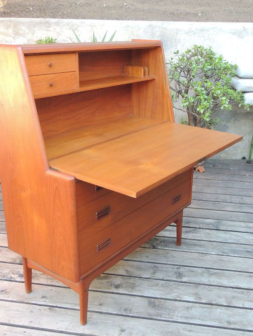 mid century modern danish teak secretary desk - Mid Century Modern Furniture Desk