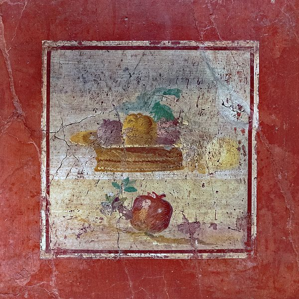 Pompeii Pomegranate Still Life Fresco 1 By Kevin Anderson. A photo of a Roman fresco of a still life with pomegranates and pairs on a red wall that survived the destruction of Pompeii. This was a part of The Last Days Of Pompeii exhibit on display in Kansas City MO