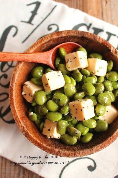 火を使わない簡単おつまみ*枝豆とチーズのオリーブオイル和え   たっきーママ オフィシャルブログ「たっきーママ@happy kitchen」Powered by Ameba