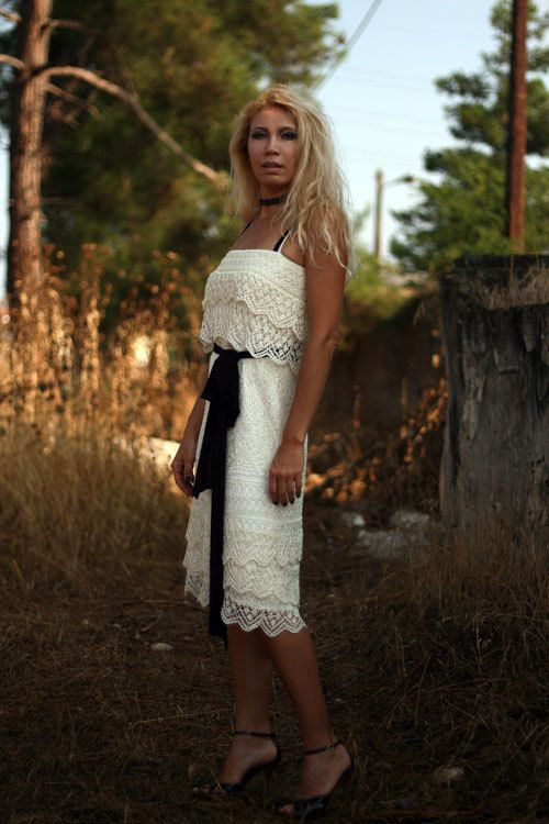 Silk hand knitted dress coctail dress lace dress by VeronicaFilina