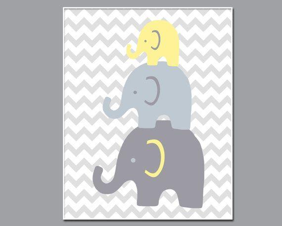 Elephant Nursery Wall Art Print. Baby Girl or Boy by HopAndPop