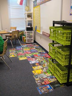 notebook storage- crates and inexpensive plastic shelving unit