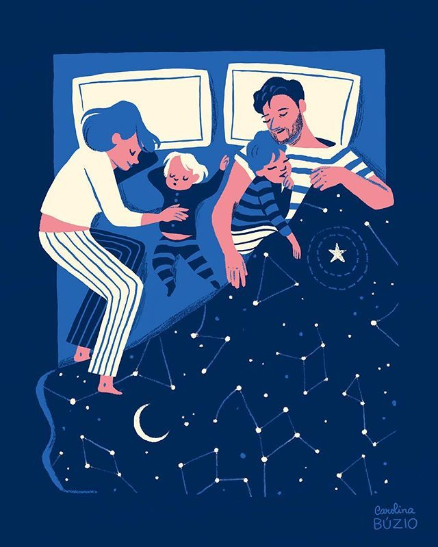 such a sweet illustration by @carolinabuzio #family #cosleeping