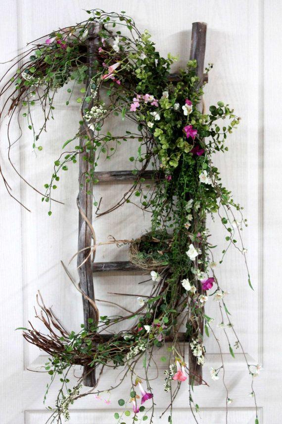 Primitive Decor Front Door Decor Spring Wreath by FloralsFromHome