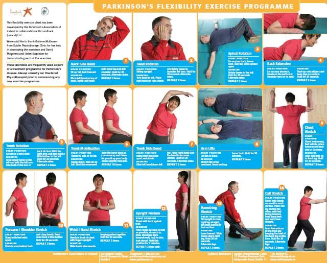 A4 Exercise Chart: Parkinson's flxibility exercise program ...