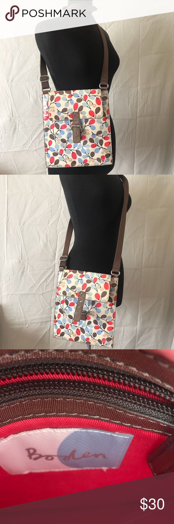 Boden Oil cloth cross body bag Super cute. In great condition. Cross body bag with adjustable straps. Oil cloth pvc. Boden Bags Crossbody Bags