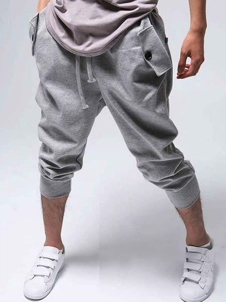 Unique Grey Stylish Man Shorts, Man's Boho Grey Cotton Short Pants, Bohemian Man's Short Casual Trousers, Men's Hipster Short Pants