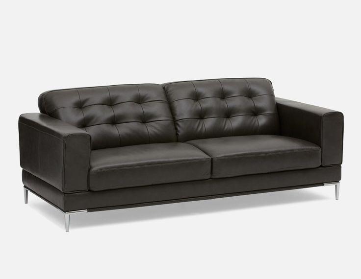 CARLTON - 100 % Leather 3-seater Sofa - Dark Grey