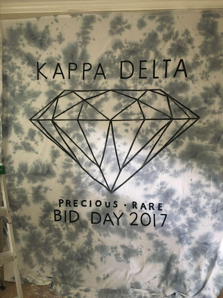 Kappa delta diamond themed bid day tyedye banner