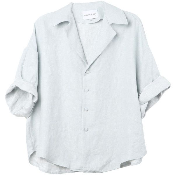 Oversized Light Blue Linen Shirt ($275) ❤ liked on Polyvore featuring tops, shirts, blouses, button shirt, light blue button up shirt, oversized button-down shirts, oversized tops and button down top