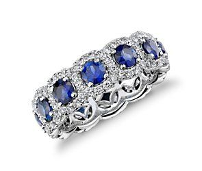 Sapphire and Diamond Halo Eternity Ring - WOW!