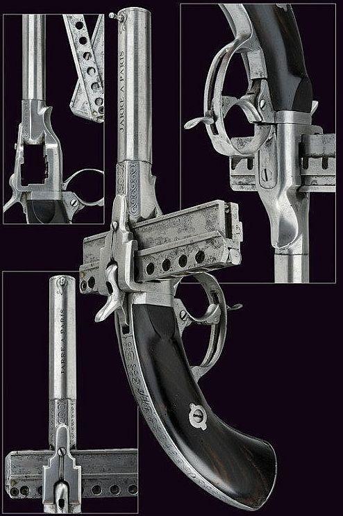A rare eight-shot Jarre pinfire pistol, Paris, 19th century.