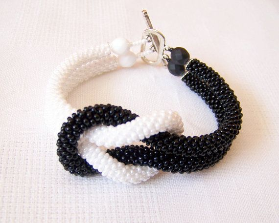 SALE Beadwork Bead Crochet Bracelet in black and white by lutita