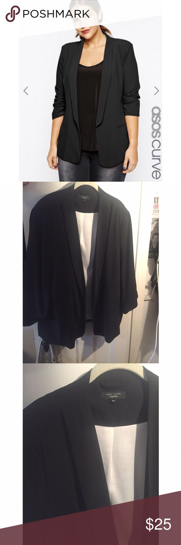 New Look Curve Black Blazer w/ cream inside Size 28 UK / 24 US! Bought a few years ago from Asos Curve online and didn't even take it out of my closet and now it's too big on me. Such a cute blazer for work & even casual nights out! ASOS Curve Jackets & Coats Blazers