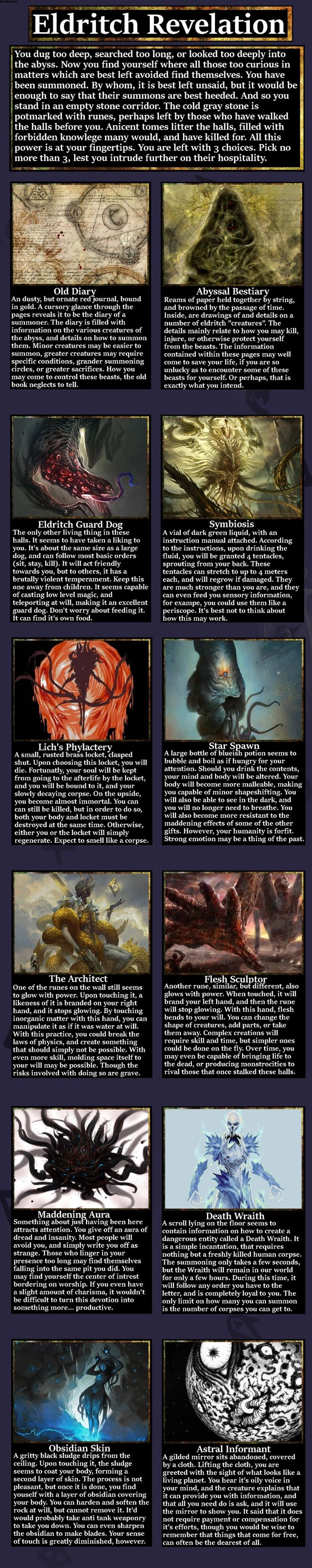 I think I'd pick The Architect, The Astral Informant, and the Abyssal Bestiary.