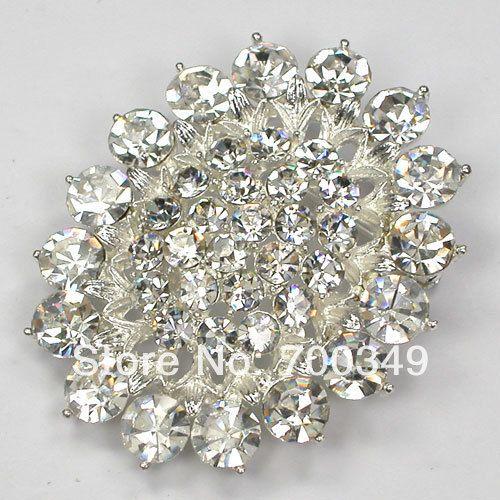 Посеребрение 12 piece/lot прозрачный кристалл горный хрусталь невеста невесты свадьба ну вечеринку цветок брошь булавка C773 макияж-1