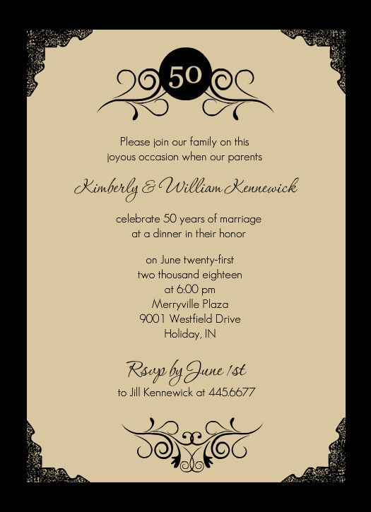 20 best 50th Anniversary Invitations images – Invitation Card Anniversary