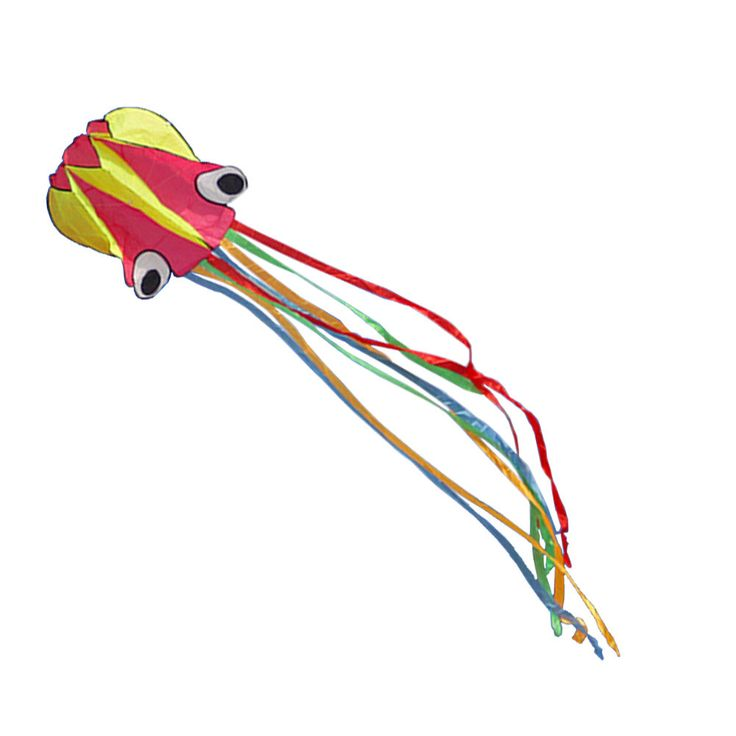 Long Colorful Tail Software Made Octopus Kite With Line,red/yellow