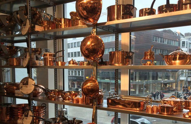 Kupferkessel von Mauviel im Kölner Kochhaus