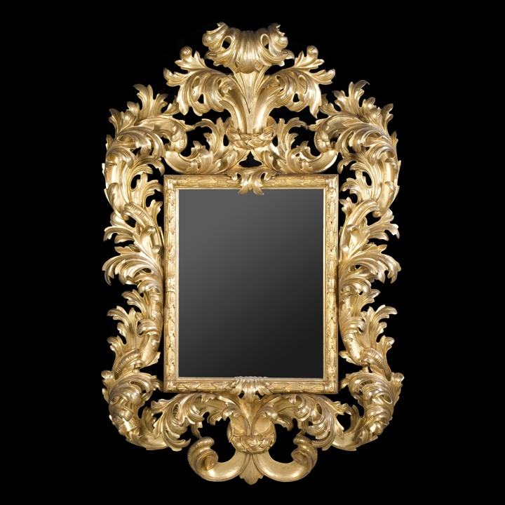 Grand miroir style baroque en bois sculpt dor l 39 or fin for Miroir style baroque