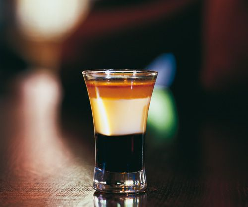 1/3 oz Bailey's® Irish cream  1/3 oz Kahlua® coffee liqueur  1/3 oz Frangelico® hazelnut liqueur    This drink is best when shaken and strained, but the proper way is to layer the drink. Kahlua is poured first, then Bailey's is next, and Frangelico is layered on top.