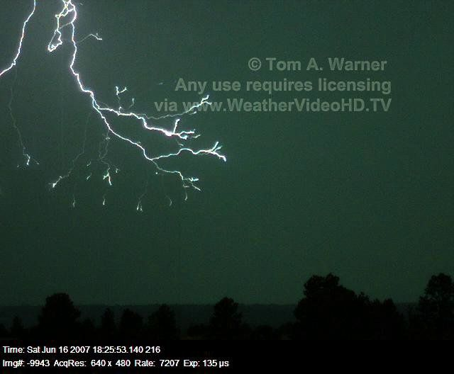 Lightning Captured at 7,207 Images per Second Video by Tom A. Warner.
