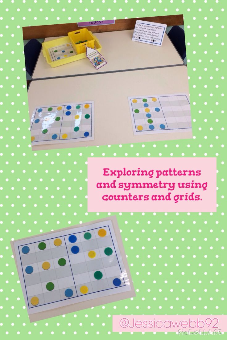 Exploring symmetry and patterns using counters and grids. EYFS