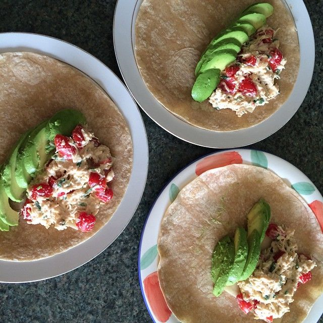 Lunch. Tuna packed in water with fat-free plain yogurt, mustard and scallions…