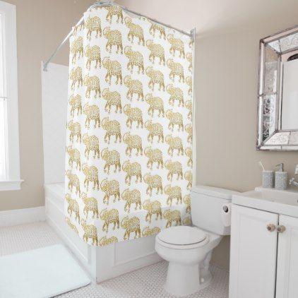 golden elephants shower curtain - glitter glamour brilliance sparkle design idea diy elegant