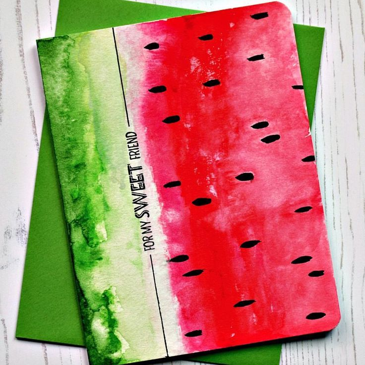 "69 Likes, 18 Comments - Joan Bardee (@dearpaperlicious) on Instagram: ""Watermelon is summer!! Saw a notebook with a similar design, so I had to try watercoloring a card.…"""