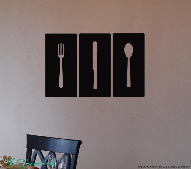 Fork Knife Spoon Panels Blocks Tiles Kitchen Decor