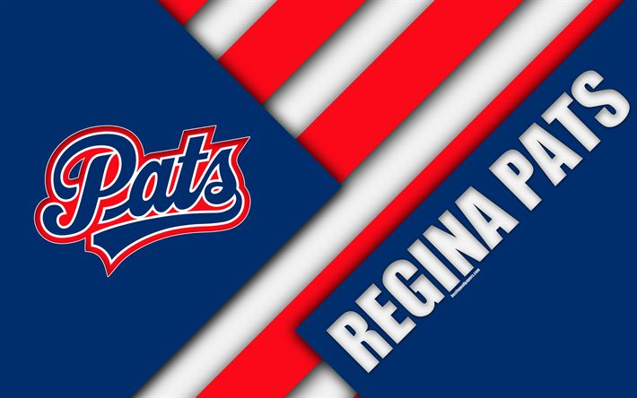 Download wallpapers Regina Pats, WHL, 4K, Canadian Hockey Club, material design, logo, blue red abstraction, Regina, Canada, Western Hockey League