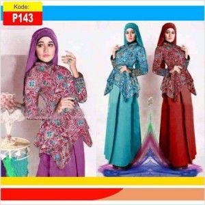 Busana muslim pesta batik syar'i julia gamis P143