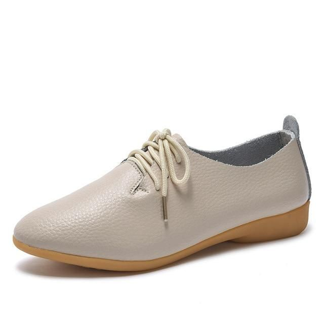 Casual Ballet Soft Genuine Leather Loafers Slip On Woman