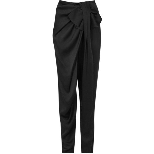 Womens Tapered Trousers Lanvin Black Draped Satin Crepe Trousers (2 095 BGN) ❤ liked on Polyvore featuring pants, tapered pants, bow pants, lanvin, crepe pants and satin pants